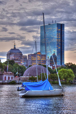 Sailboats And Sunset On The Charles River Art Print by Joann Vitali