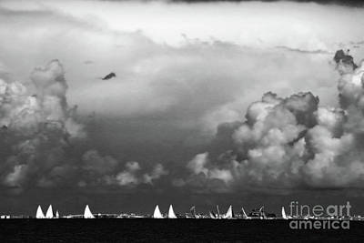 Photograph - Sailboats And Thunderheads In Bw by Mary Haber
