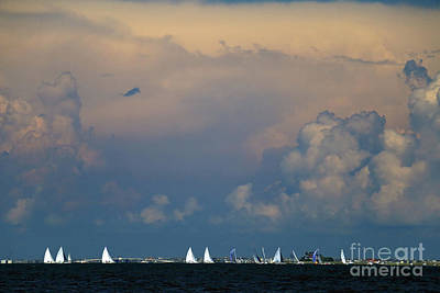 Photograph - Sailboats And Thunderheads by Mary Haber