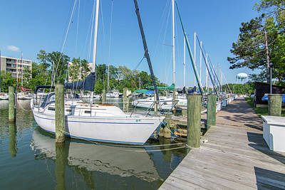 Photograph - Sailboats At Dock by Charles Kraus