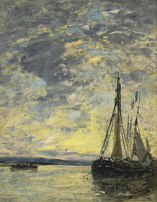 Painting - Sailboats At Dock by Eugene Boudin
