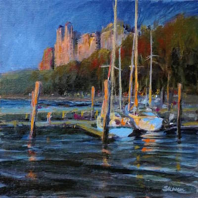 Sailboats At Dusk, Hudson River Art Print by Peter Salwen