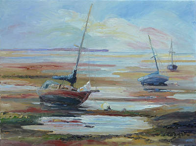 Painting - Sailboats At Low Tide Near Nelson, New Zealand by Barbara Pommerenke