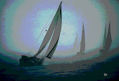 Mixed Media - Sailboats At Night by Charles Shoup