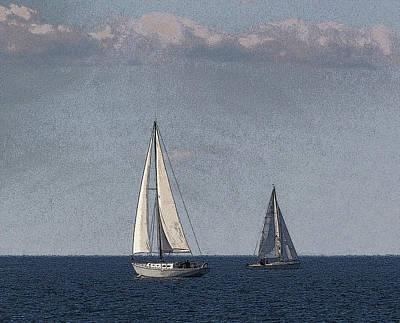 Sailboats At Sister Bay Art Print by Stephen Mack