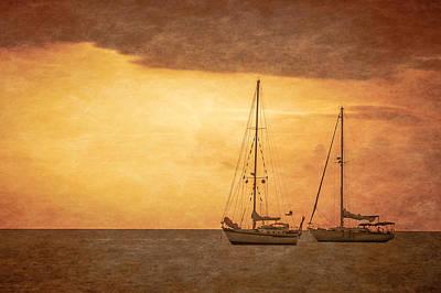 Photograph - Sailboats At Sundown by Don Schwartz