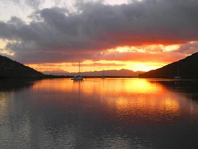 Sailboats At Sunrise In Puerto Escondido Art Print