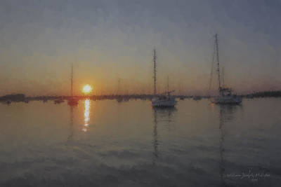 Sailboats At Sunset Art Print
