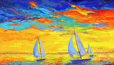Painting - Sailboats At Sunset, Colorful Landscape, Impressionistic Art by Patricia Awapara