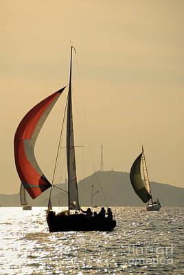 Sailboats At Sunset Navigating Art Print by Sami Sarkis