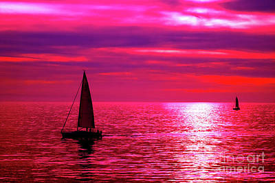 Photograph - Sailboats At Sunset by Toula Mavridou-Messer
