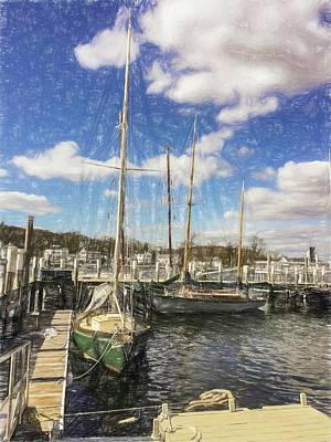 Digital Art - Sailboats At The Dock by Rusty R Smith