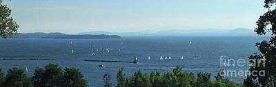 Photograph - Sailboats By Lake Champlain Lighthouse Panorama by Felipe Adan Lerma