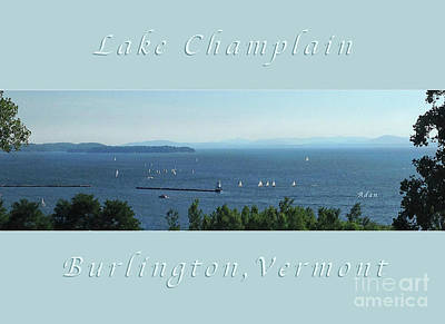 Photograph - Sailboats By Lake Champlain Lighthouse Panorama Poster Greeting Card by Felipe Adan Lerma
