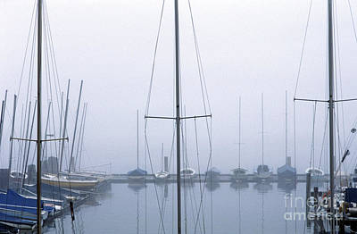 Photograph - Sailboats In Fog by Jim Corwin