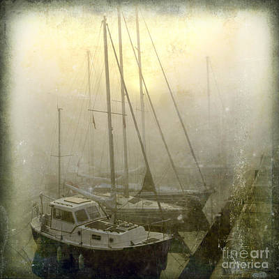 Sailboats In Honfleur. Normandy. France Art Print