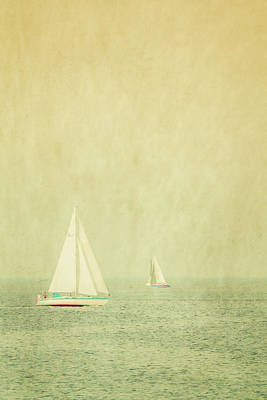 Sailboats In Pastel Art Print by Erin Cadigan