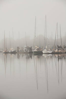 Boats In Reflecting Water Photograph - Sailboats In Stillness by Karol Livote