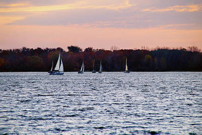 Photograph - Sailboats In The Evening by Mike Murdock