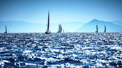 Photograph - Sailboats In The Sea by Anna Om