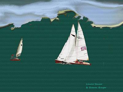 Timeless Mixed Media - Sailboats by Lenore Senior and Sharon Burger