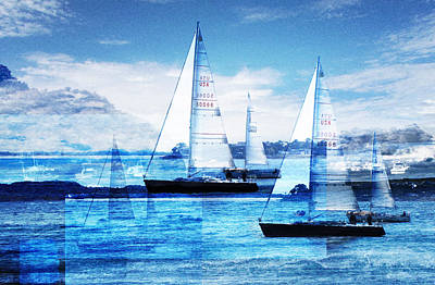 Blue Ocean Photograph - Sailboats by MW Robbins