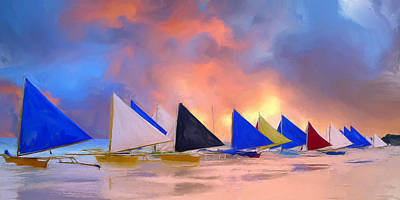 Outrigger Painting - Sailboats On Boracay Island by Dominic Piperata
