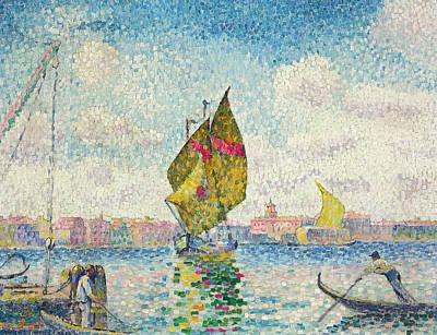 Sailboats On Giudecca Or Venice, Marine Art Print by Henri-Edmond Cross