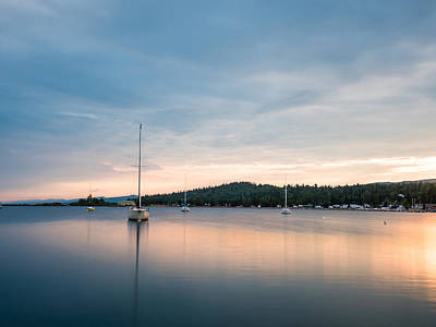 Peaceful Photograph - Sailboats On Grand Marais Harbor At Sunset 3 by AMB Fine Art Photography