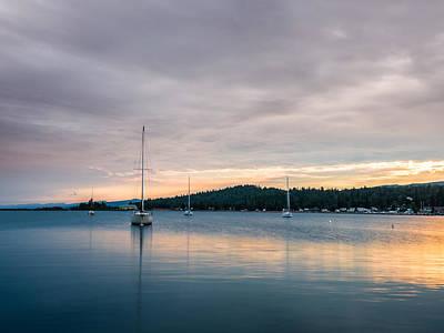Lake Photograph - Sailboats On Grand Marais Harbor At Sunset 4 by AMB Fine Art Photography