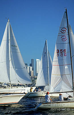 Photograph - Sailboats On Lake Union  by Jim Corwin