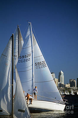 Photograph - Sailboats On Lake Union Racing by Jim Corwin