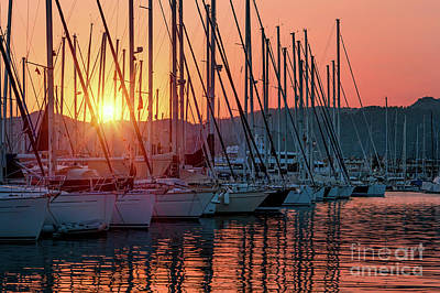Photograph - Sailboats On Sunset by Anna Om