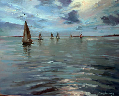 Painting - Sailboats On The Chesapeake Bay by Susan Bradbury