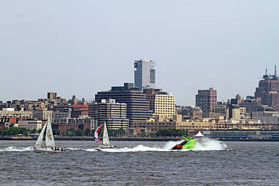 Water Sports Poster Painting - sailboats on the Hudson River by Geraldine Scull