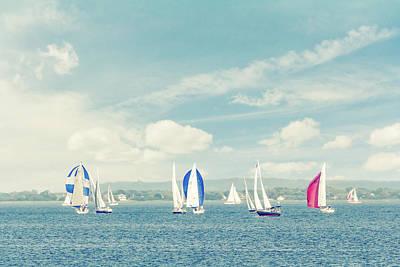Sailboats On The Raritan Bay Art Print by Erin Cadigan