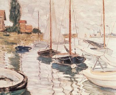 Riverbank Painting - Sailboats On The Seine by Claude Monet