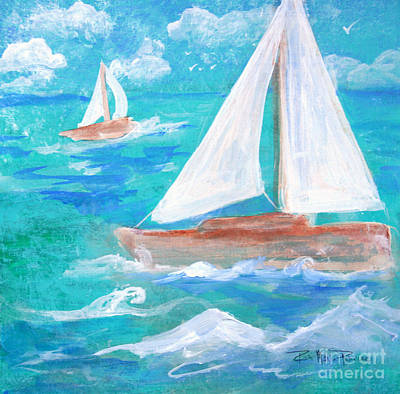 Painting - Sailboats Passing by Robin Maria Pedrero