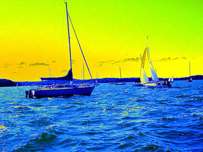 Boating Digital Art - Sailboats by Peter  McIntosh