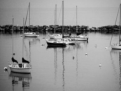 Photograph - Sailboats Resting B-w by Anita Burgermeister