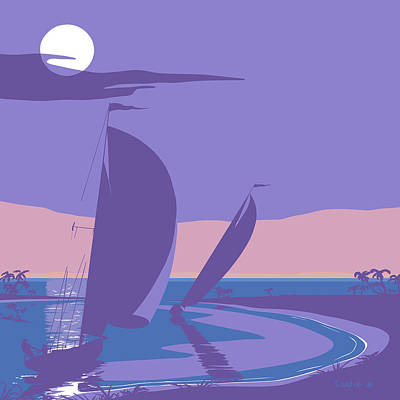 Moon Rise Painting - Sailboats Sailing Into The Sunset Retro Pop Art Abstract Painting - Sailing Yachts - Square Format by Walt Curlee
