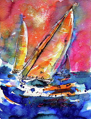 Painting - Sailboatstogether by Kovacs Anna Brigitta