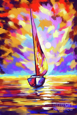 Painting - Sailbout Sunset by Tim Gilliland