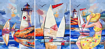 Sailbouts And Lighthouses Art Print