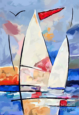 Eastcoast Lighthouses Painting - sailbouts at Martha Vineyard by Tim Gilliland