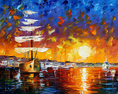 Lighthouse Oil Painting - Sailer by Leonid Afremov
