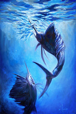 Swordfish Painting - Sailfish And Ballyhoo by Tom Dauria