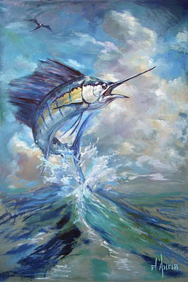 Sports Paintings - Sailfish and Frigate by Tom Dauria