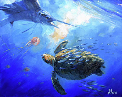 Reptiles Royalty-Free and Rights-Managed Images - Sailfish and Turtle by Tom Dauria