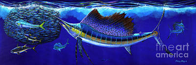 Animals Paintings - Sailfish Commotion by Carey Chen